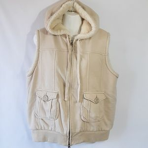 Gap Faux Fur lined Cotton hooded vest